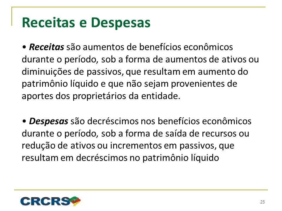 Receitas e Despesas • Receitas são aumentos de benefícios econômicos