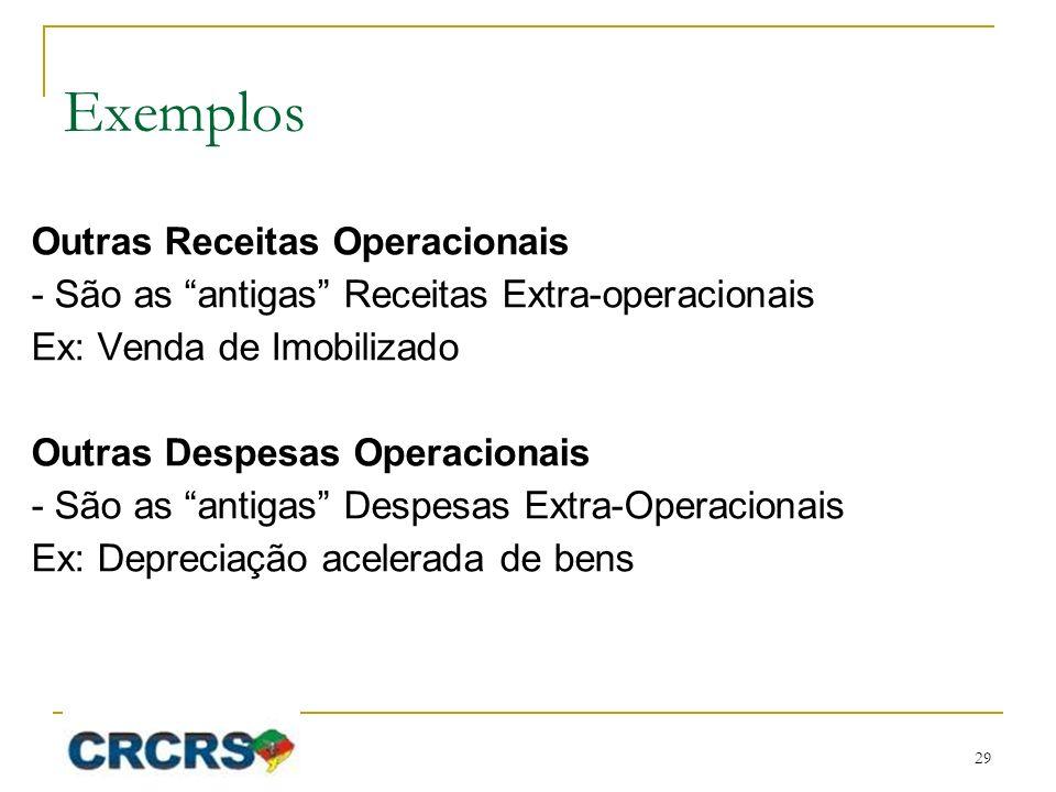 Exemplos Outras Receitas Operacionais