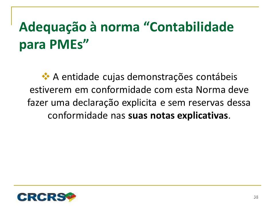 Adequação à norma Contabilidade para PMEs