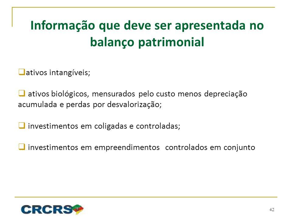 Informação que deve ser apresentada no balanço patrimonial