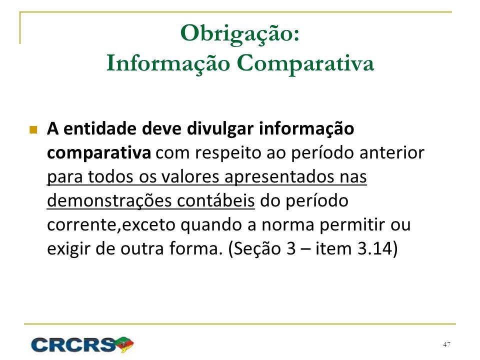Obrigação: Informação Comparativa