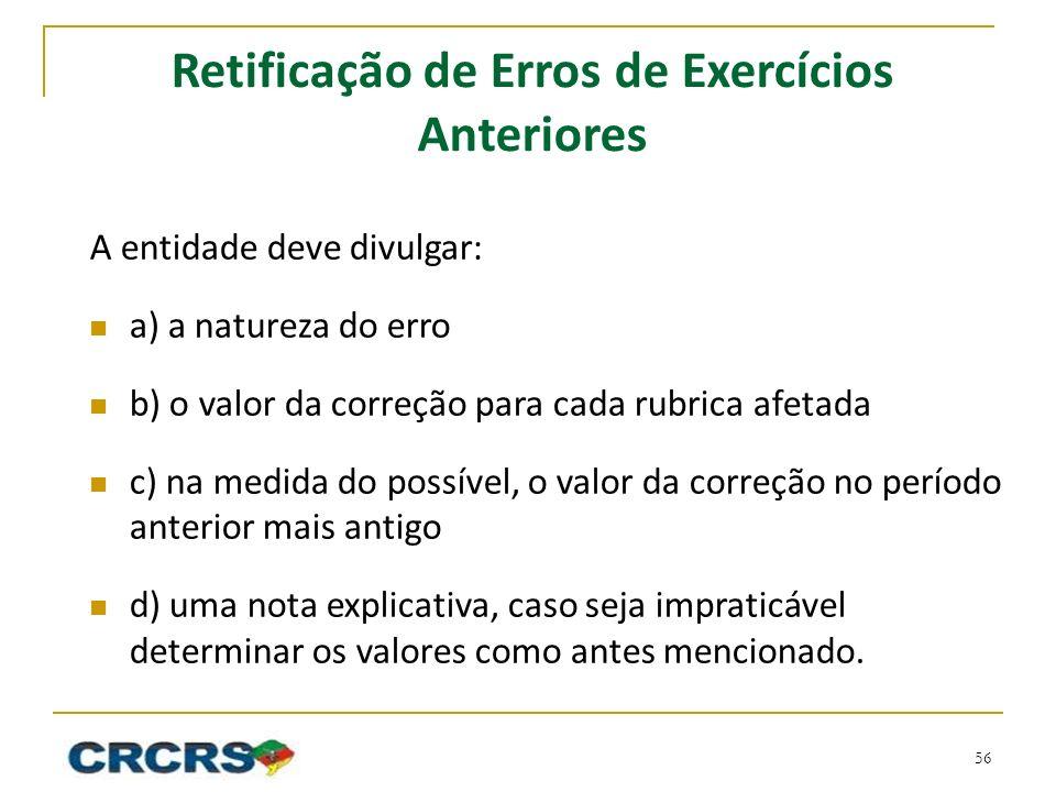 Retificação de Erros de Exercícios Anteriores
