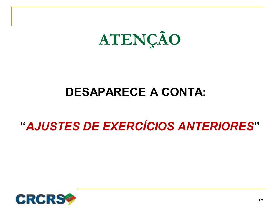 AJUSTES DE EXERCÍCIOS ANTERIORES