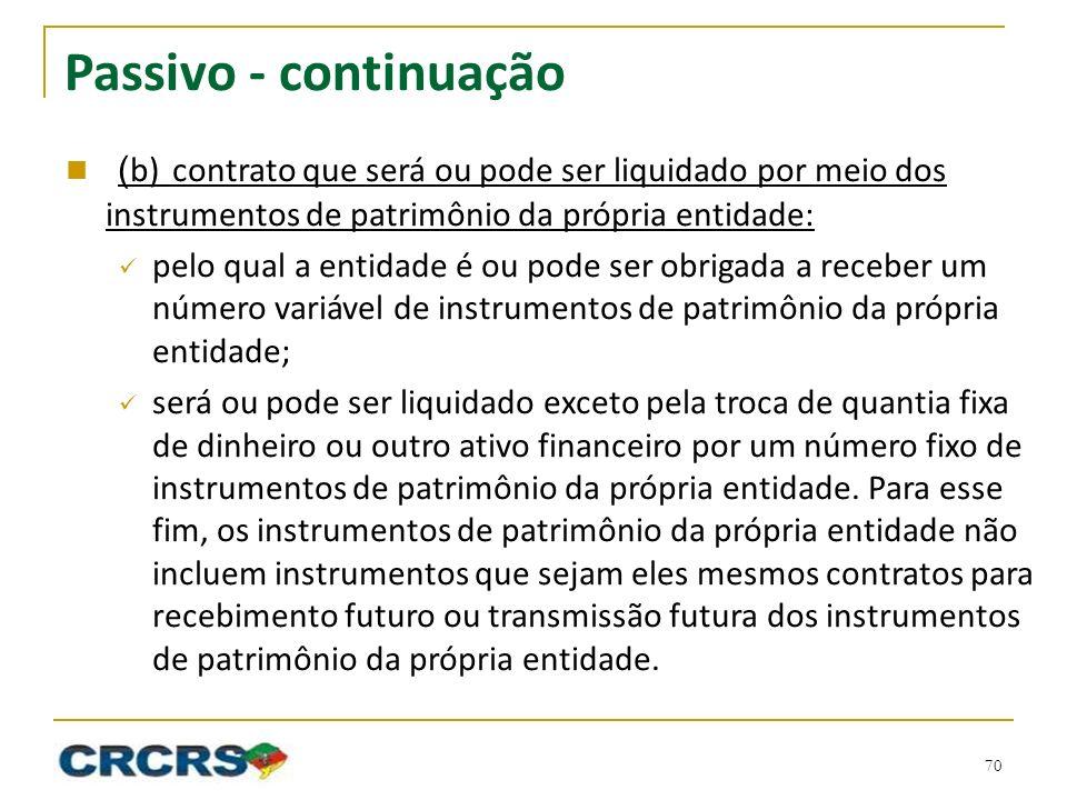 Passivo - continuação (b) contrato que será ou pode ser liquidado por meio dos instrumentos de patrimônio da própria entidade: