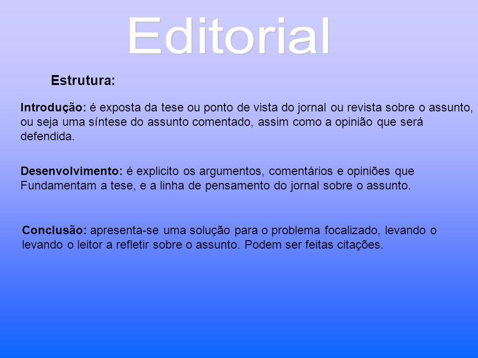 Editorial Estrutura: Introdução: é exposta da tese ou ponto de vista do jornal ou revista sobre o assunto,