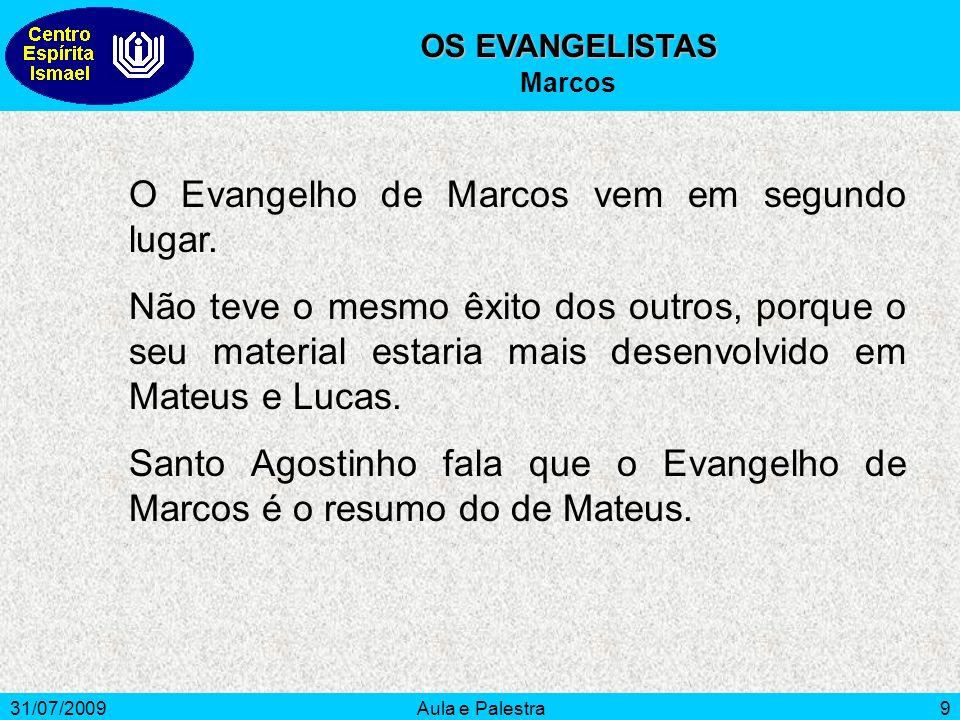 O Evangelho de Marcos vem em segundo lugar.