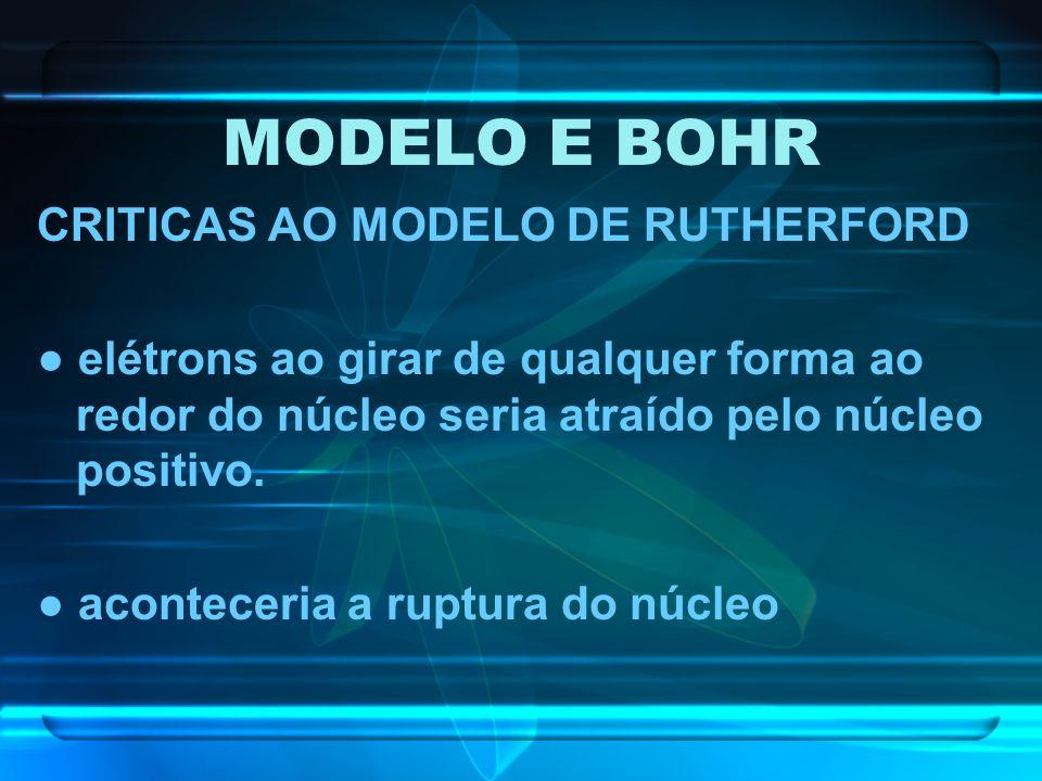 MODELO E BOHR CRITICAS AO MODELO DE RUTHERFORD