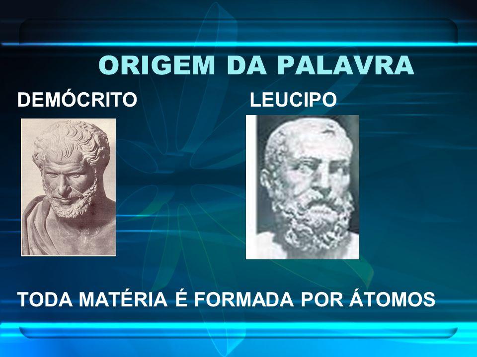 ORIGEM DA PALAVRA DEMÓCRITO LEUCIPO TODA MATÉRIA É FORMADA POR ÁTOMOS