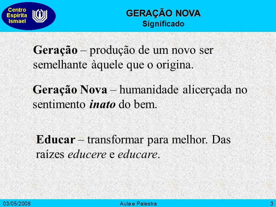 Geração – produção de um novo ser semelhante àquele que o origina.