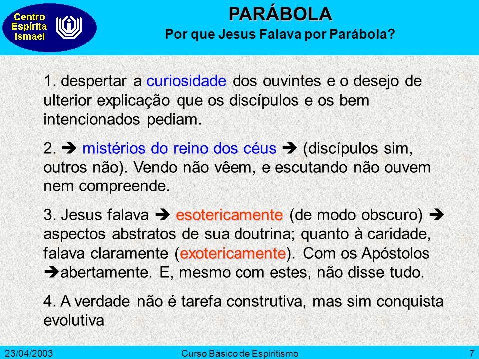 Por que Jesus Falava por Parábola