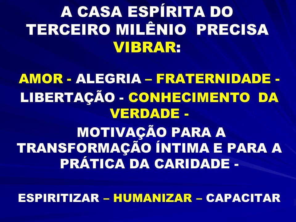 A CASA ESPÍRITA DO TERCEIRO MILÊNIO PRECISA VIBRAR: