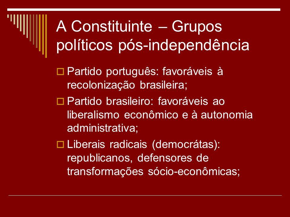 A Constituinte – Grupos políticos pós-independência