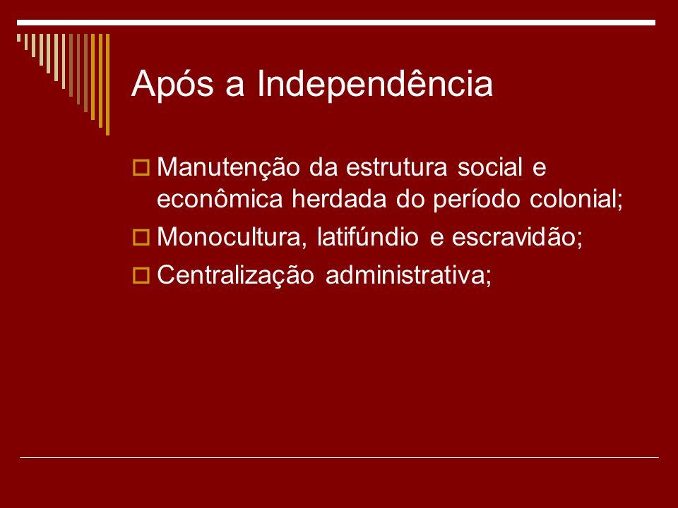 Após a IndependênciaManutenção da estrutura social e econômica herdada do período colonial; Monocultura, latifúndio e escravidão;