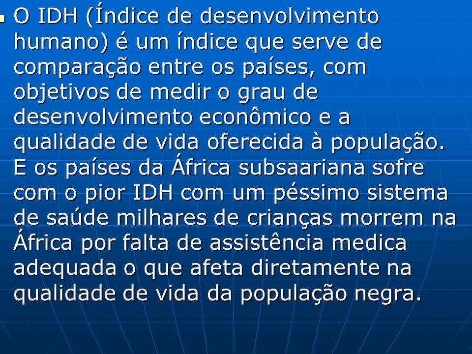 O IDH (Índice de desenvolvimento humano) é um índice que serve de comparação entre os países, com objetivos de medir o grau de desenvolvimento econômico e a qualidade de vida oferecida à população.