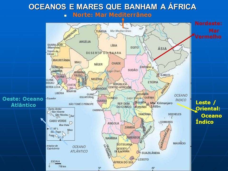 OCEANOS E MARES QUE BANHAM A ÁFRICA