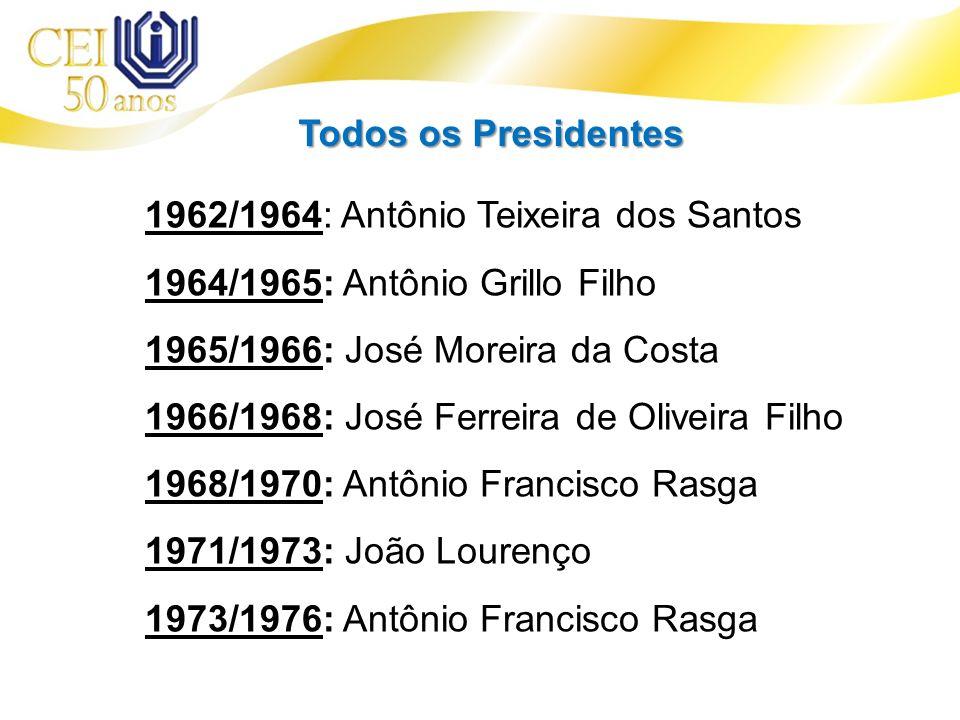 Todos os Presidentes 1962/1964: Antônio Teixeira dos Santos. 1964/1965: Antônio Grillo Filho. 1965/1966: José Moreira da Costa.