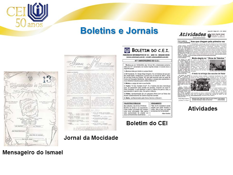 Boletins e Jornais Atividades Boletim do CEI Jornal da Mocidade