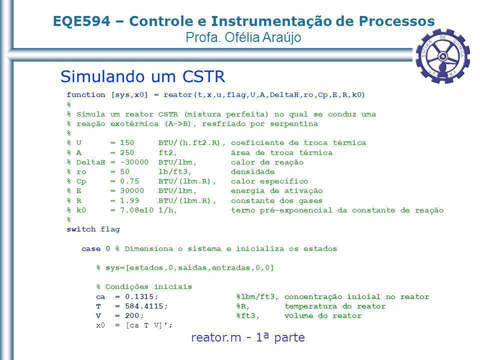 Simulando um CSTR reator.m - 1ª parte