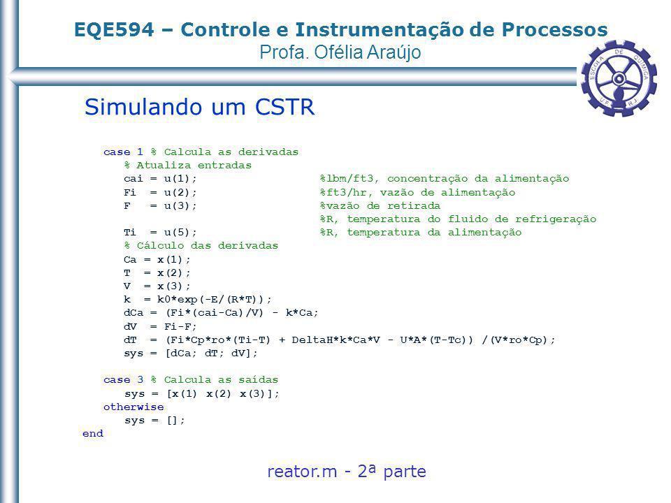 Simulando um CSTR reator.m - 2ª parte case 1 % Calcula as derivadas