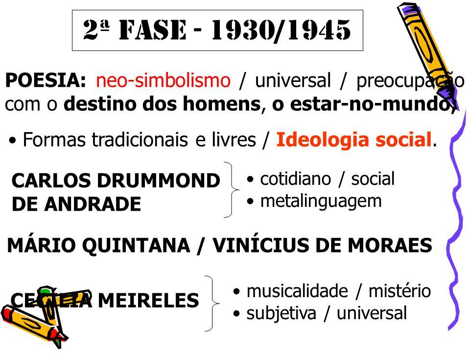 2ª FASE - 1930/1945 POESIA: neo-simbolismo / universal / preocupação com o destino dos homens, o estar-no-mundo;