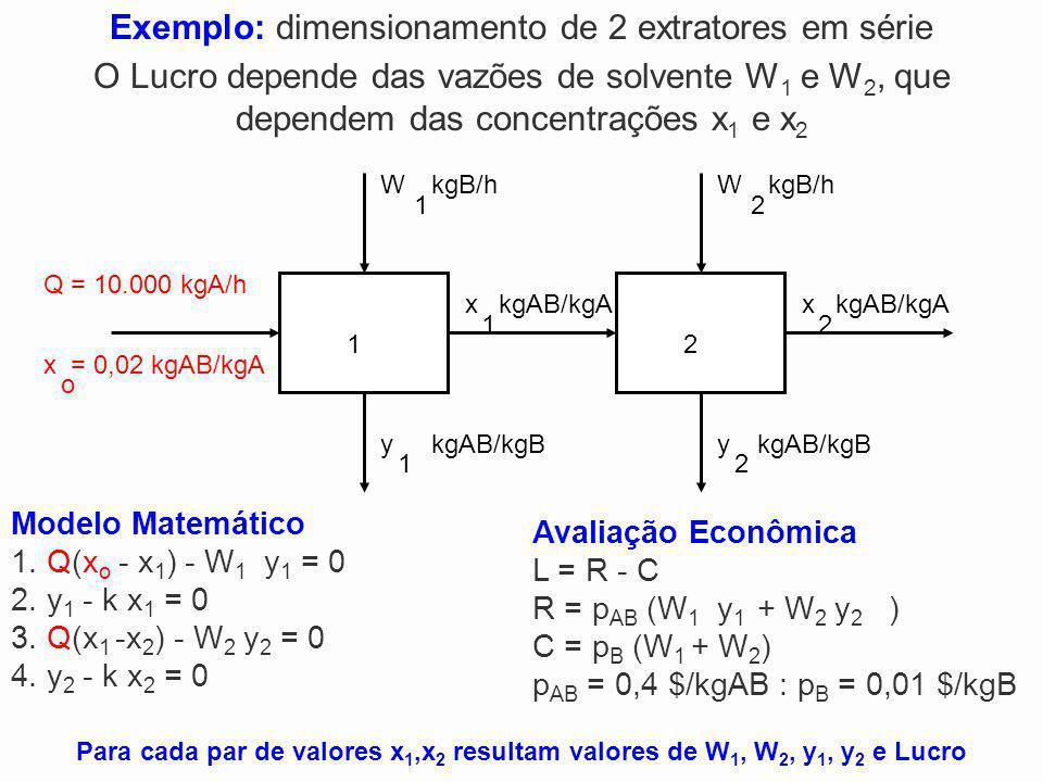 Exemplo: dimensionamento de 2 extratores em série
