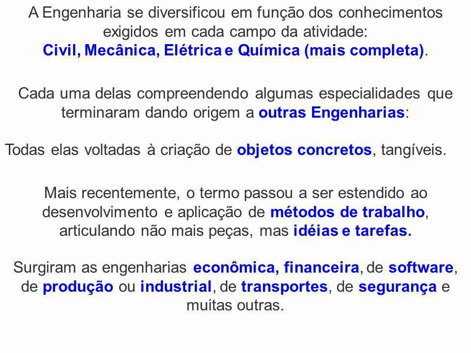 Civil, Mecânica, Elétrica e Química (mais completa).