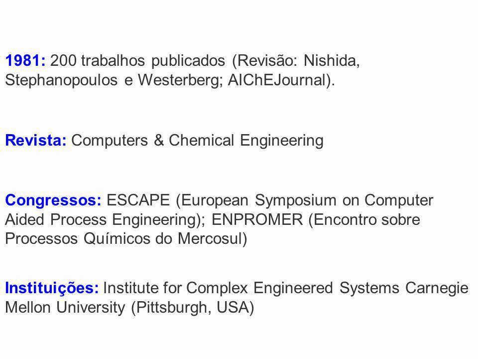 1981: 200 trabalhos publicados (Revisão: Nishida, Stephanopoulos e Westerberg; AIChEJournal).