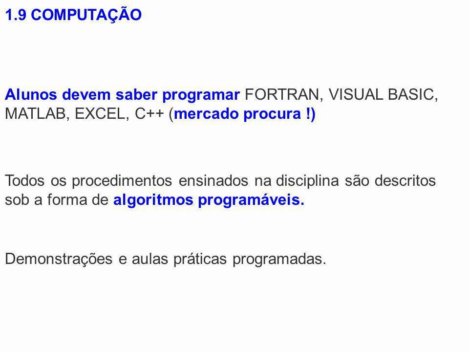 1.9 COMPUTAÇÃO Alunos devem saber programar FORTRAN, VISUAL BASIC, MATLAB, EXCEL, C++ (mercado procura !)