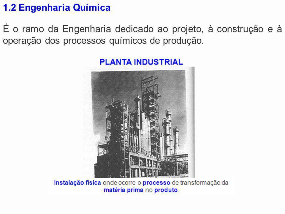 1.2 Engenharia Química É o ramo da Engenharia dedicado ao projeto, à construção e à operação dos processos químicos de produção.