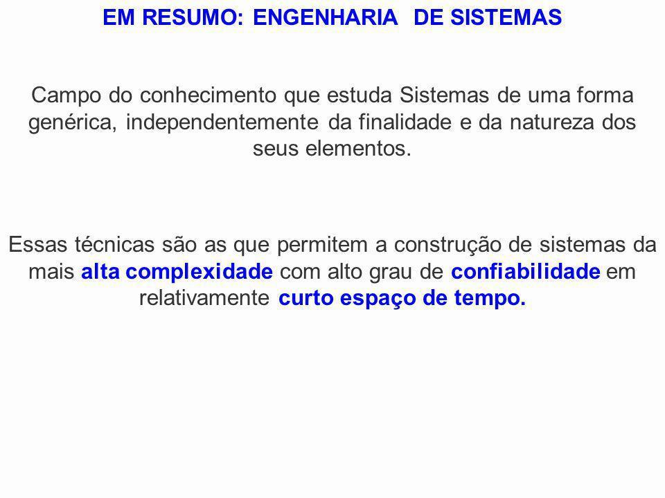 EM RESUMO: ENGENHARIA DE SISTEMAS