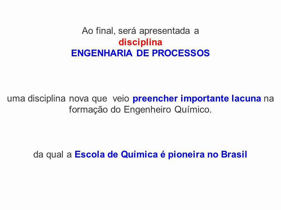 Ao final, será apresentada a disciplina ENGENHARIA DE PROCESSOS