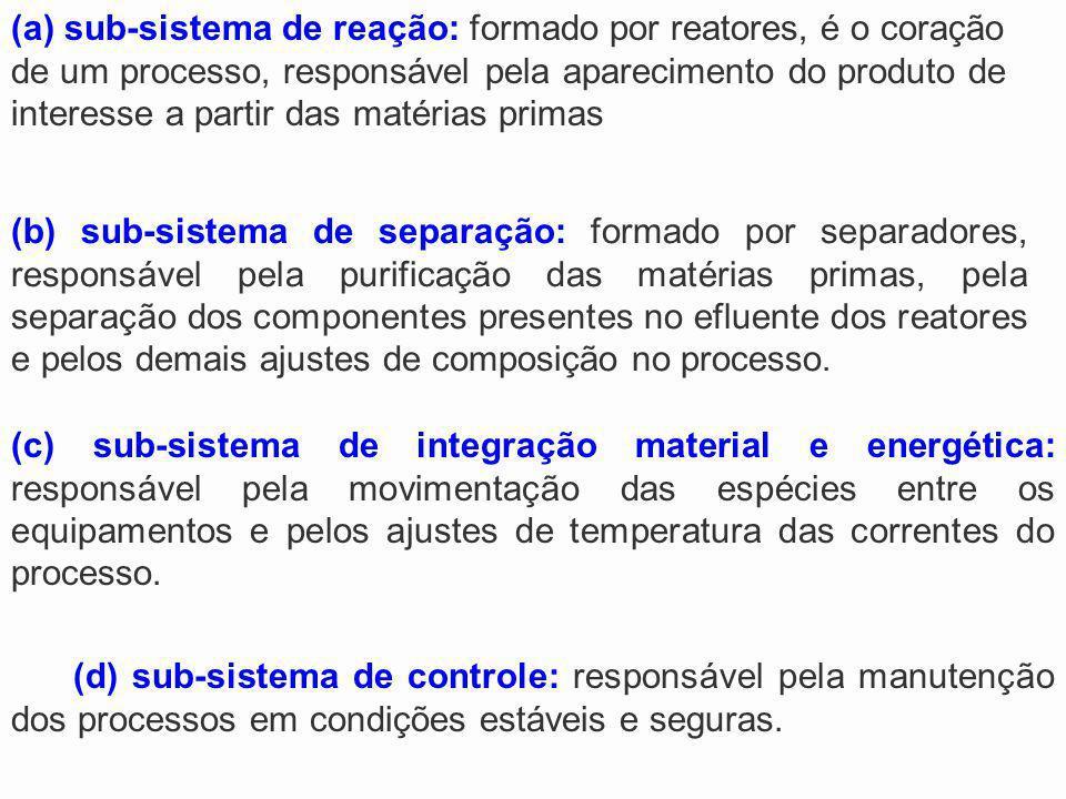 (a) sub-sistema de reação: formado por reatores, é o coração de um processo, responsável pela aparecimento do produto de interesse a partir das matérias primas