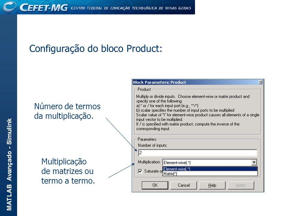 Configuração do bloco Product: