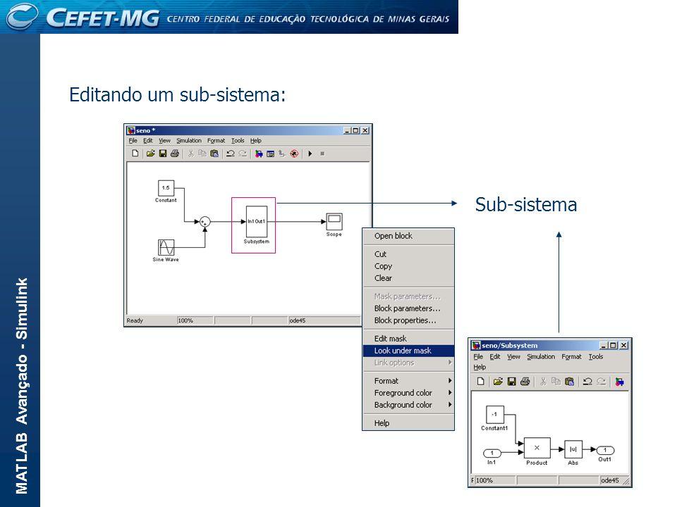 Editando um sub-sistema: