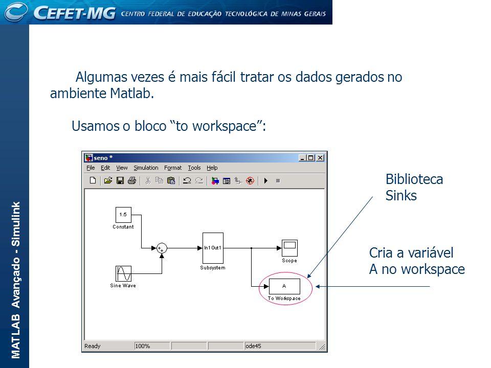Algumas vezes é mais fácil tratar os dados gerados no ambiente Matlab.