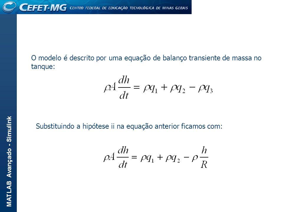 O modelo é descrito por uma equação de balanço transiente de massa no tanque:
