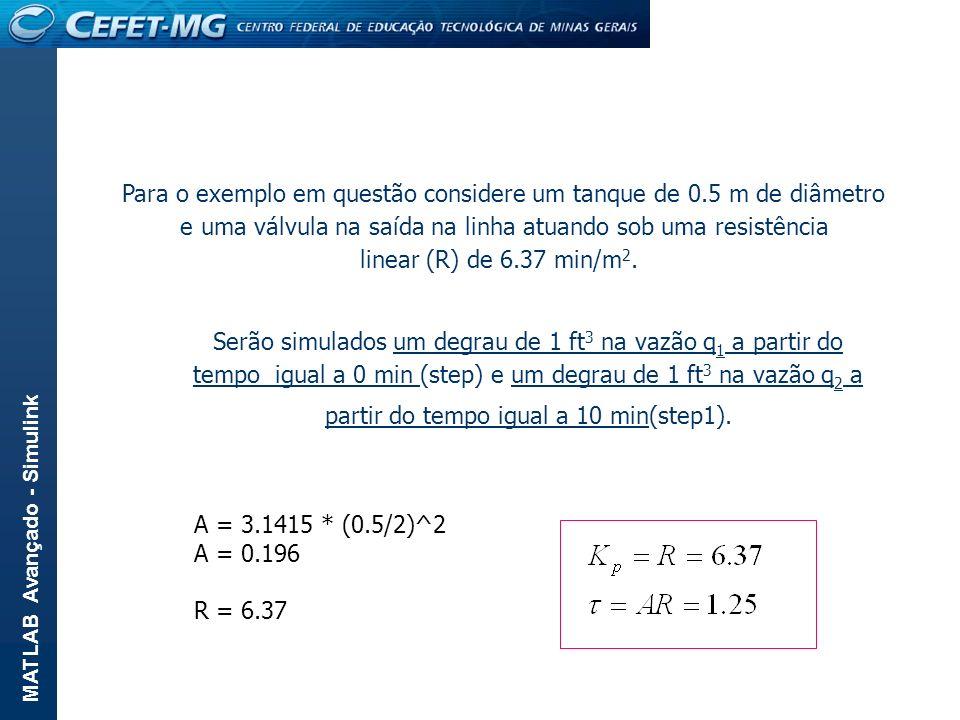 Para o exemplo em questão considere um tanque de 0.5 m de diâmetro