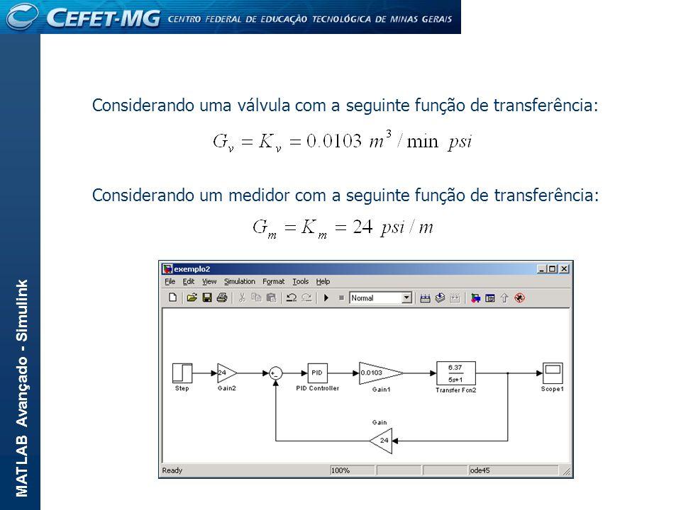 Considerando uma válvula com a seguinte função de transferência: