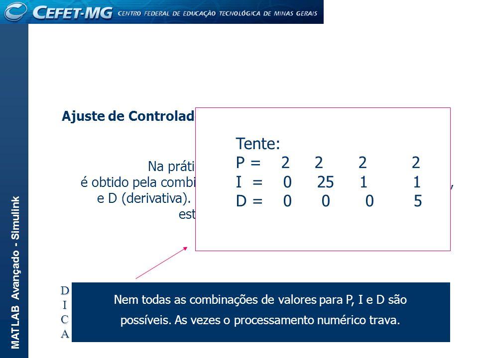 Tente: P = 2 2 2 2 I = 0 25 1 1 D = 0 0 0 5 Ajuste de Controladores: