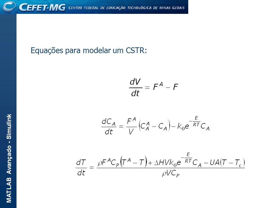 Equações para modelar um CSTR: