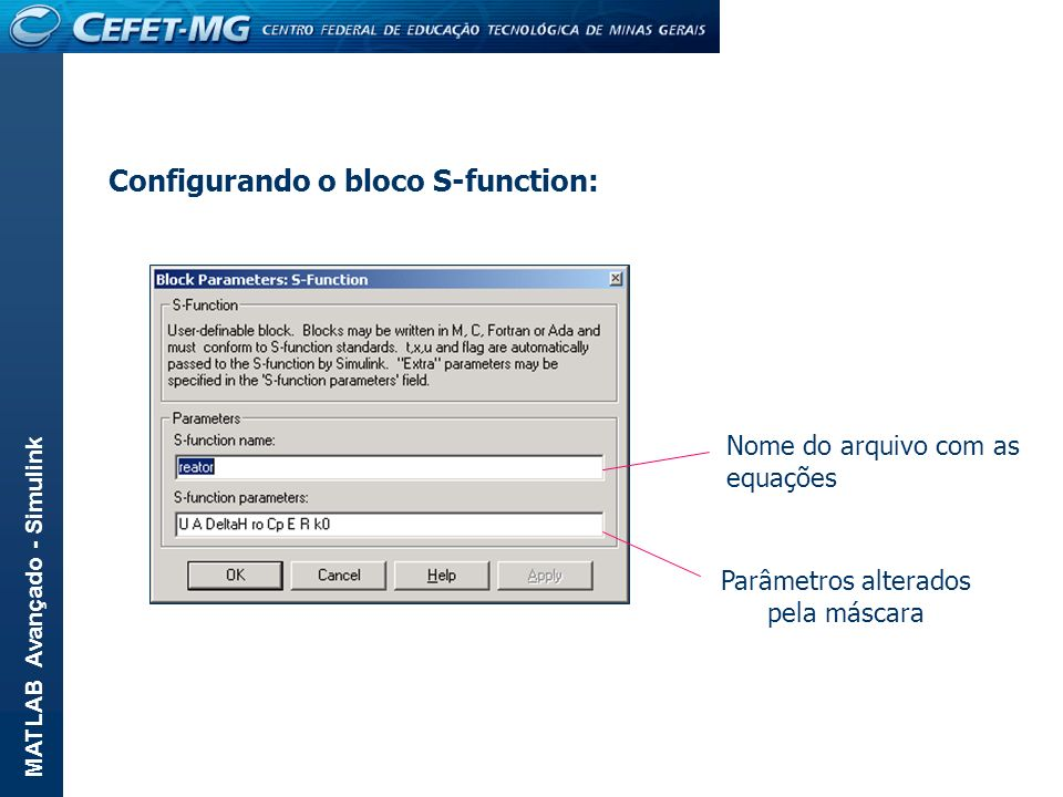 Configurando o bloco S-function: