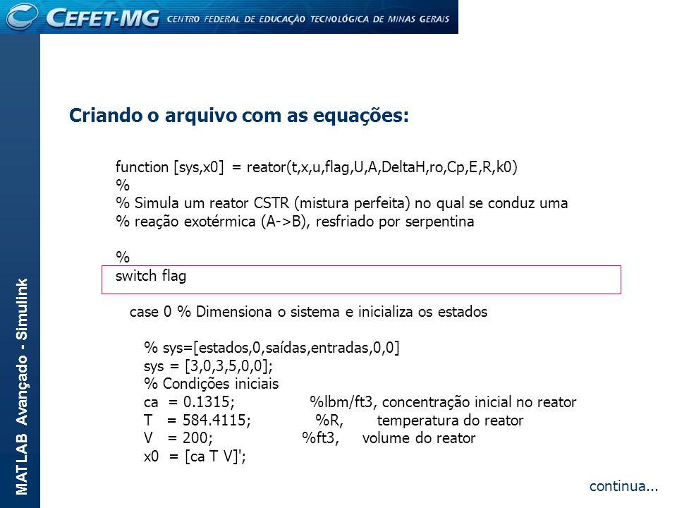 Criando o arquivo com as equações:
