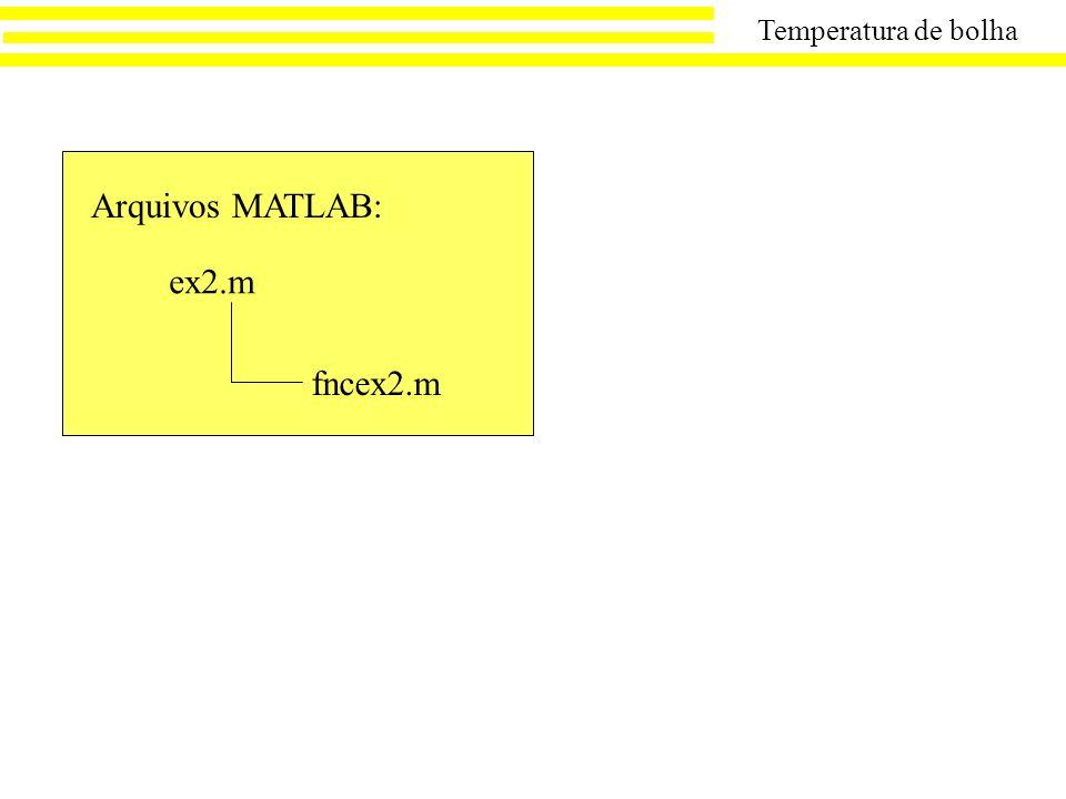 Temperatura de bolha Arquivos MATLAB: ex2.m fncex2.m