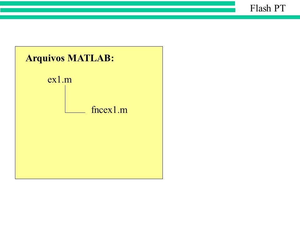 Flash PT Arquivos MATLAB: ex1.m fncex1.m