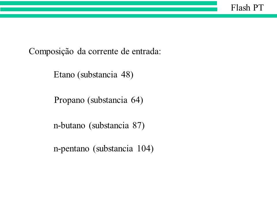 Flash PT Composição da corrente de entrada: Etano (substancia 48) Propano (substancia 64) n-butano (substancia 87)