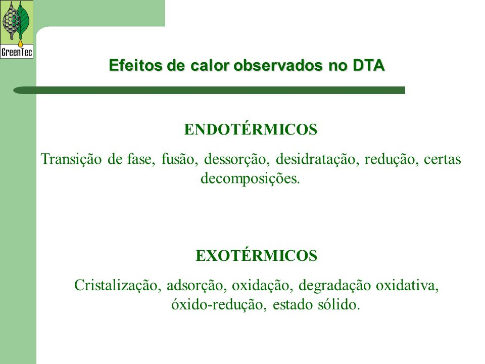 Efeitos de calor observados no DTA