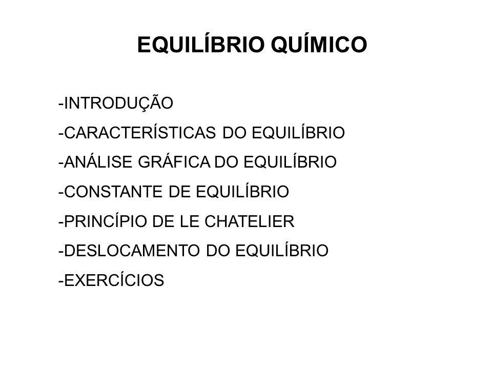 EQUILÍBRIO QUÍMICO INTRODUÇÃO CARACTERÍSTICAS DO EQUILÍBRIO