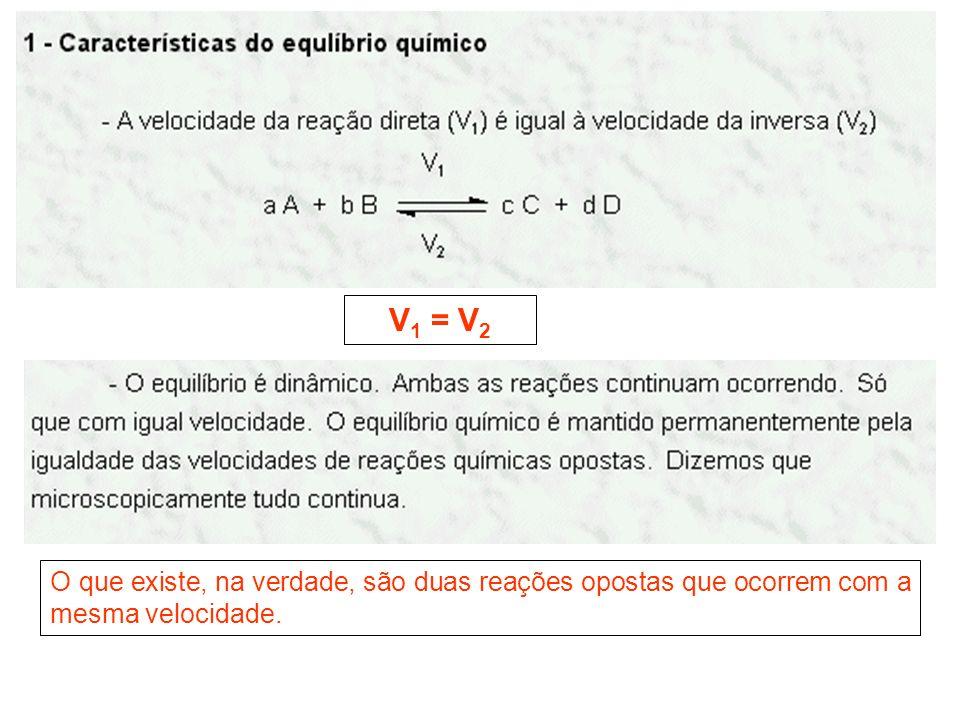 V1 = V2 O que existe, na verdade, são duas reações opostas que ocorrem com a mesma velocidade.