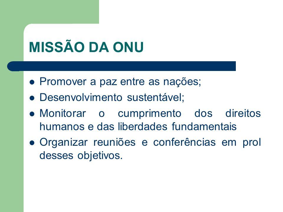 MISSÃO DA ONU Promover a paz entre as nações;