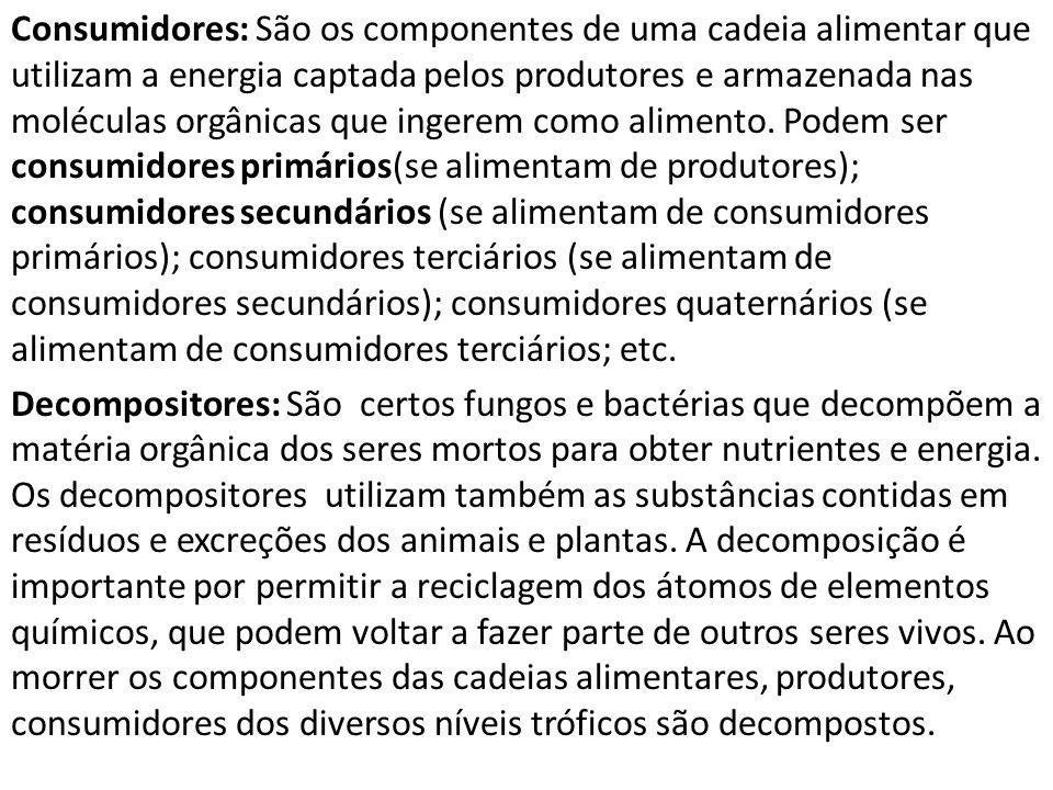 Consumidores: São os componentes de uma cadeia alimentar que utilizam a energia captada pelos produtores e armazenada nas moléculas orgânicas que ingerem como alimento. Podem ser consumidores primários(se alimentam de produtores); consumidores secundários (se alimentam de consumidores primários); consumidores terciários (se alimentam de consumidores secundários); consumidores quaternários (se alimentam de consumidores terciários; etc.